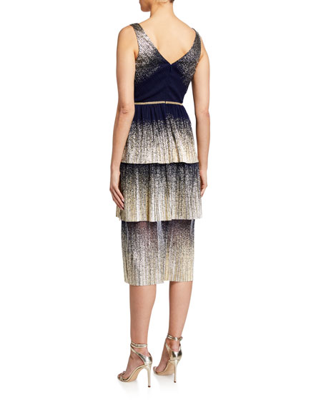 Image 2 of 2: Marchesa Notte V-Neck Pleated Foil Degrade Tiered Cocktail Dress