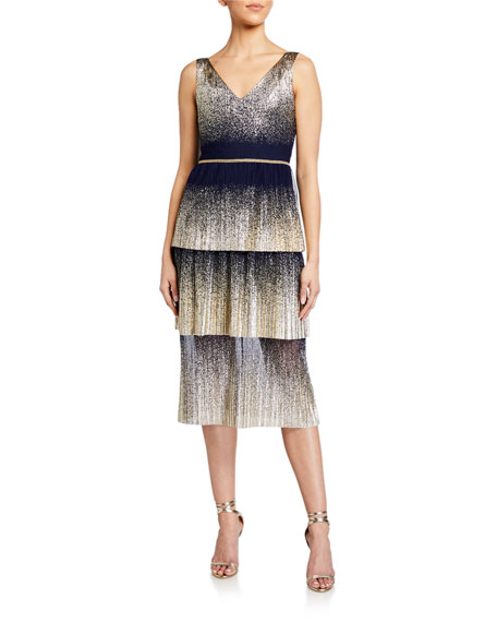 Image 1 of 2: Marchesa Notte V-Neck Pleated Foil Degrade Tiered Cocktail Dress