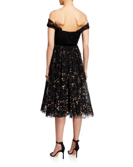 Marchesa Notte Off-the-Shoulder Flocked Glitter Tulle Midi Dress