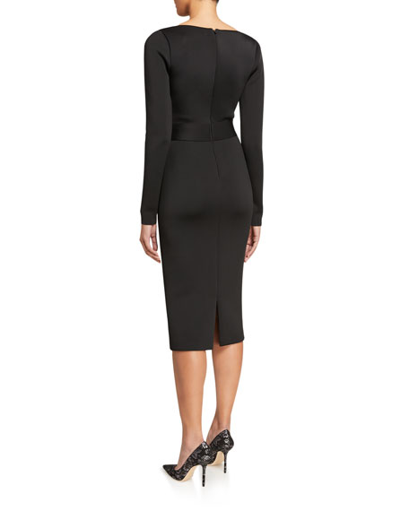 Image 2 of 2: Badgley Mischka Collection V-Neck Long-Sleeve Scuba Dress with Bow