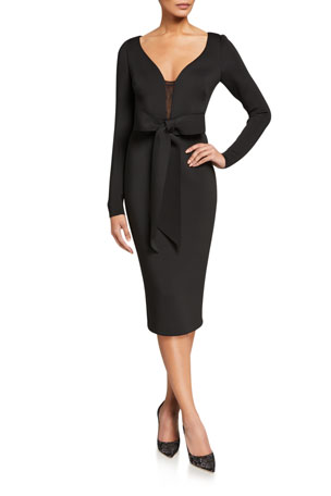 Badgley Mischka Collection V-Neck Long-Sleeve Scuba Dress with Bow