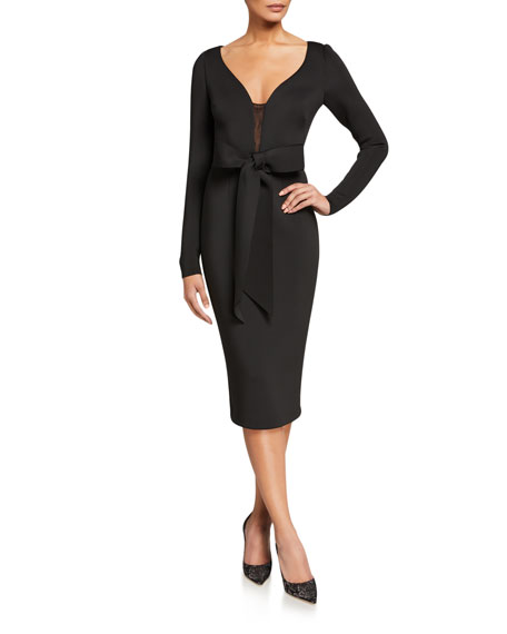 Image 1 of 2: Badgley Mischka Collection V-Neck Long-Sleeve Scuba Dress with Bow