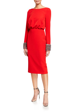 Badgley Mischka Collection V-Back Long-Sleeve Dress with Beaded Cuffs