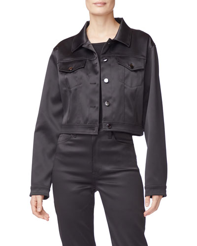 Cyra Cropped Sateen Jacket