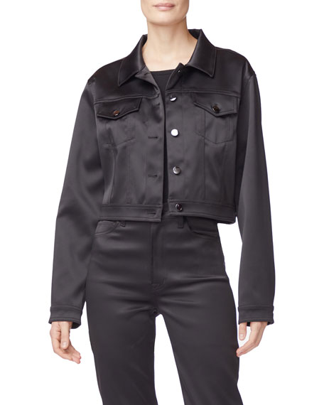 J Brand Jackets Cyra Cropped Sateen Jacket
