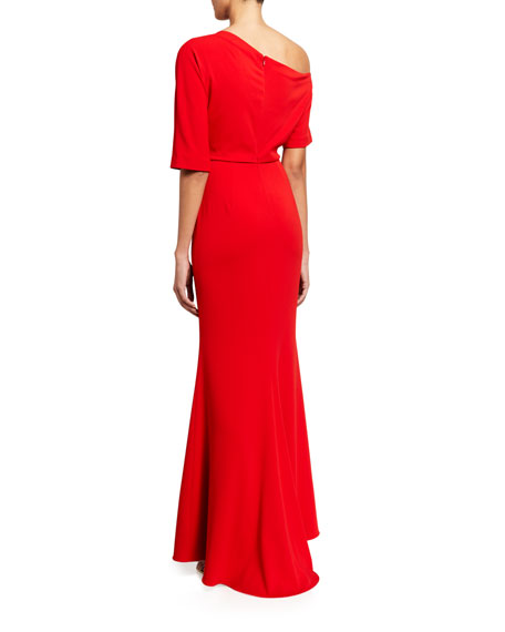 Image 2 of 2: Badgley Mischka Collection Asymmetric One-Shoulder Elbow-Sleeve Column Gown