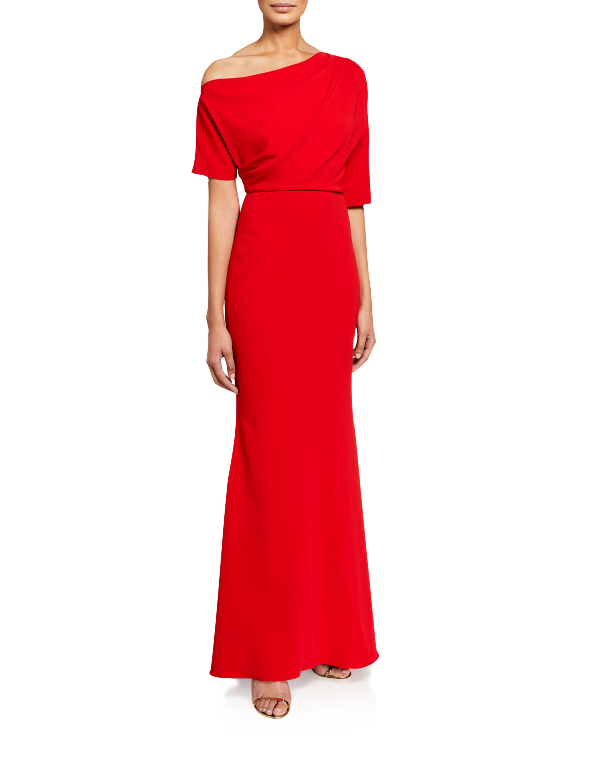 Badgley Mischka Collection Asymmetric One-Shoulder Elbow-Sleeve Column Gown