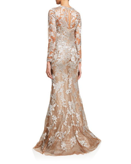 Rene Ruiz Long-Sleeve Lace Illusion Mermaid Gown