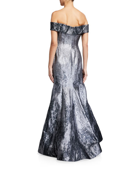 Rene Ruiz Off-the-Shoulder Metallic Jacquard Mermaid Gown