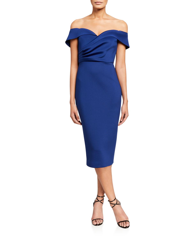 Badgley Mischka Collection Off-the-Shoulder Draped Top Scuba Dress