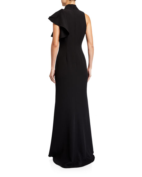 Badgley Mischka Collection Mock-Neck Sleeveless Asymmetric Ruffle Crepe Gown