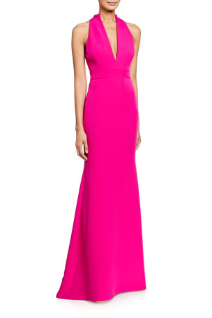 Badgley Mischka Collection V-Neck Column Gown with Cut-In Shoulders