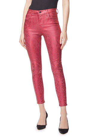 J Brand Alana High-Rise Cropped Coated Jeans