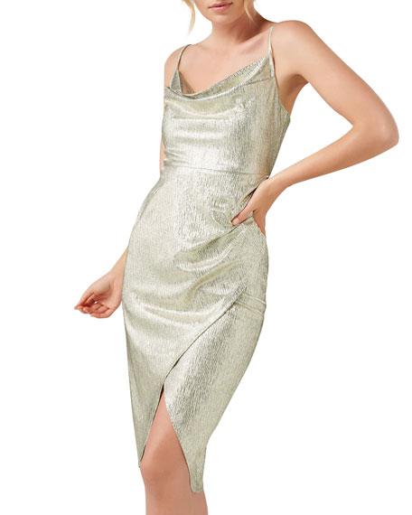 Ever New Metallic Jersey Cowl-Neck High-Low Slip Dress