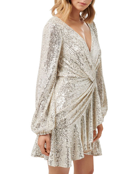 Image 2 of 4: Ever New Cece Sequin Puff Sleeve Short Asymmetric Wrap Dress