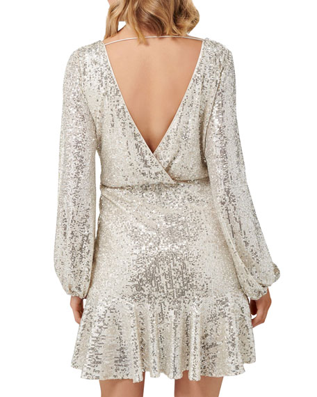 Image 3 of 4: Ever New Cece Sequin Puff Sleeve Short Asymmetric Wrap Dress