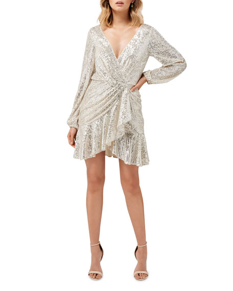 Image 1 of 4: Ever New Cece Sequin Puff Sleeve Short Asymmetric Wrap Dress