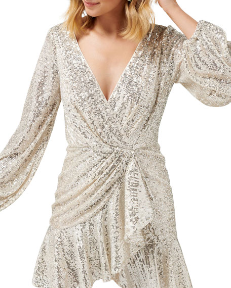 Image 4 of 4: Ever New Cece Sequin Puff Sleeve Short Asymmetric Wrap Dress