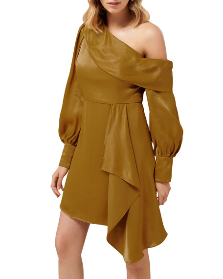 Ever New Shelsey Long-Sleeve Asymmetric Mini Satin Dress