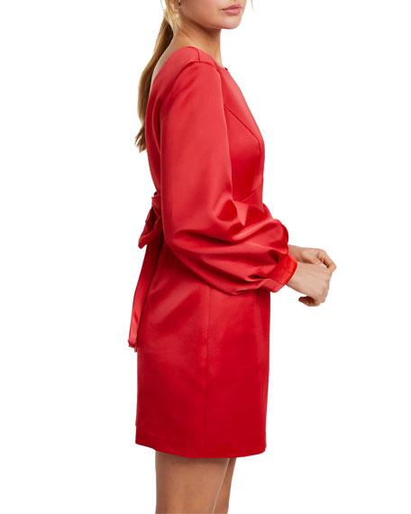 Ever New Puffed Long-Sleeve Bow-Back Mini Dress