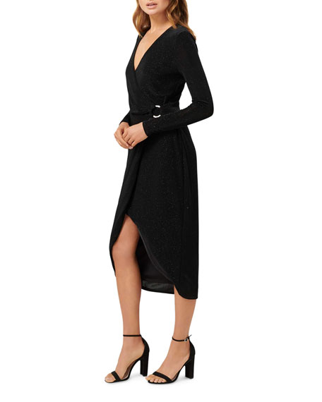Ever New Tiffany Long-Sleeve Mock Wrap High-Low Dress w/ Buckle Detail