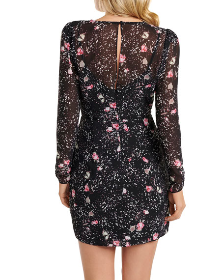 Image 3 of 3: Ever New Floral Print V-Neck Long-Sleeve Shirred Mini Dress