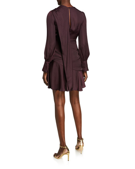 Ever New Long-Sleeve Mini Satin Drape Dress