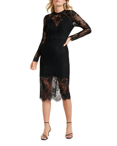Ever New Long-Sleeve Lace Inset Illusion Midi Dress