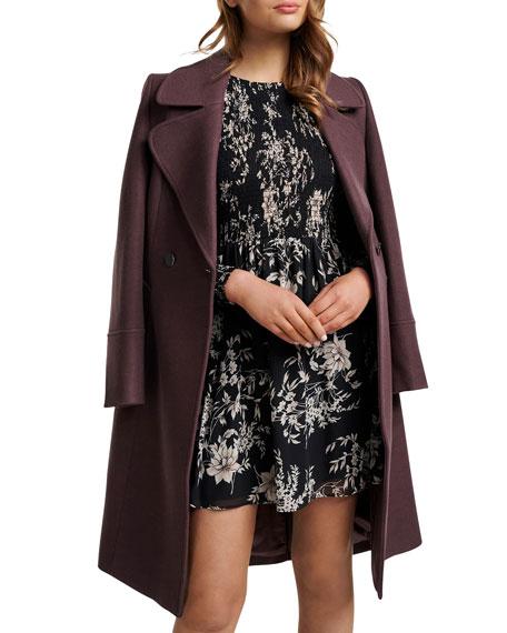 Ever New Floral Smocked Long-Sleeve Sheer Mini Dress