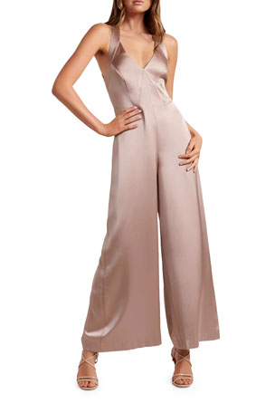 Ever New Tina Wide-Leg Satin Jumpsuit