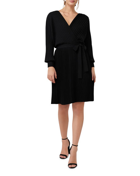 Image 1 of 4: Ever New Cindy Long-Sleeve Pleat Dress