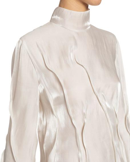 Kenzo Wavy Satin Turtleneck Mini Dress