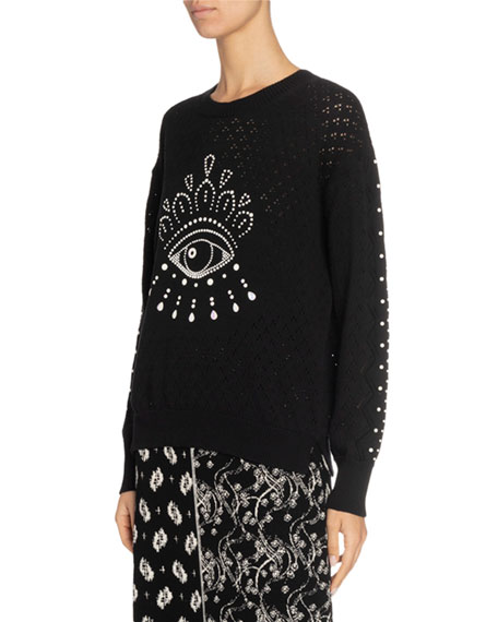 Kenzo Beaded Eye Pointelle Pullover Sweater