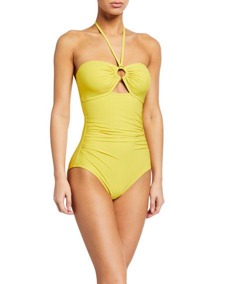 kate spade new york bandeau halter one-piece swimsuit w/ shirring & ring detail