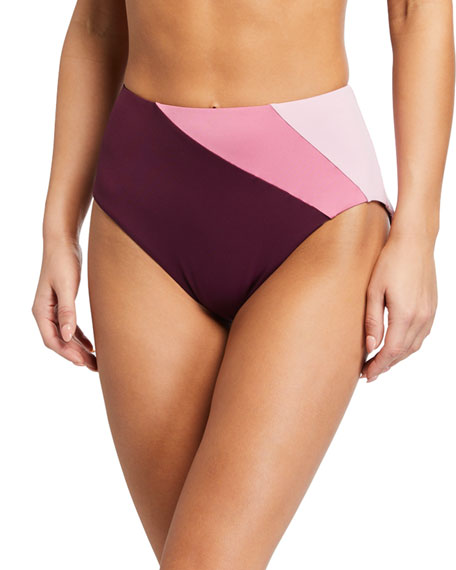 kate spade new york reversible colorblock high-rise bikini bottom