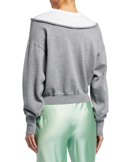 Image 2 of 2: alexanderwang.t Peelaway Bilayer Cropped Long-Sleeve Pullover