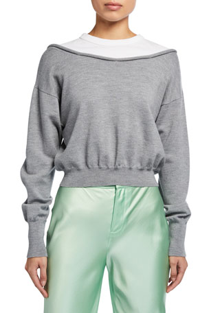 alexanderwang.t Peelaway Bilayer Cropped Long-Sleeve Pullover