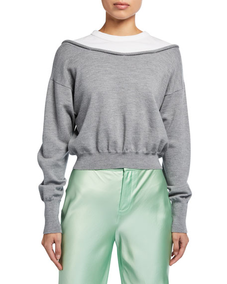 Image 1 of 2: alexanderwang.t Peelaway Bilayer Cropped Long-Sleeve Pullover