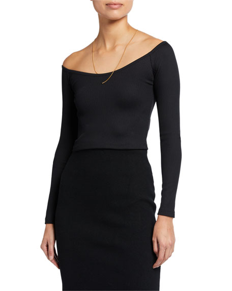 alexanderwang.t Tech Bodycon Ribbed Off-Shoulder Top w/ Chain