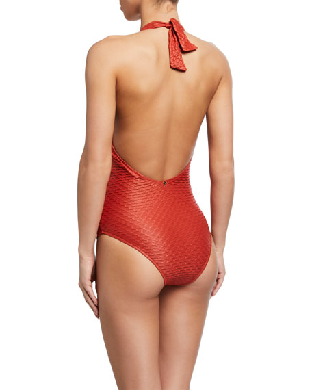 Image 2 of 2: Textured Halter One-Piece Swimsuit