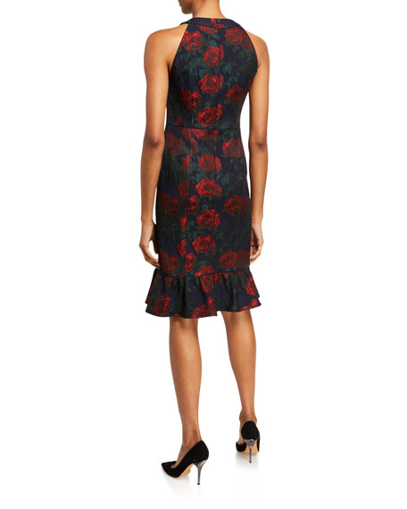 Nanette Lepore Rose Jacquard Halter Dress