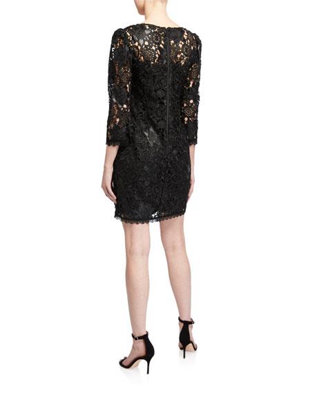 Nanette Lepore V-Neck 3/4-Sleeve Lace Dress