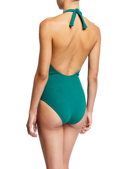 Chiara Boni La Petite Robe Tabea Ruched Halter One-Piece Swimsuit