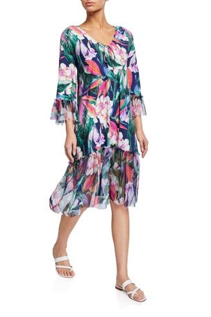 Chiara Boni La Petite Robe Zehra Floral Print 3/4-Sleeve Coverup Dress