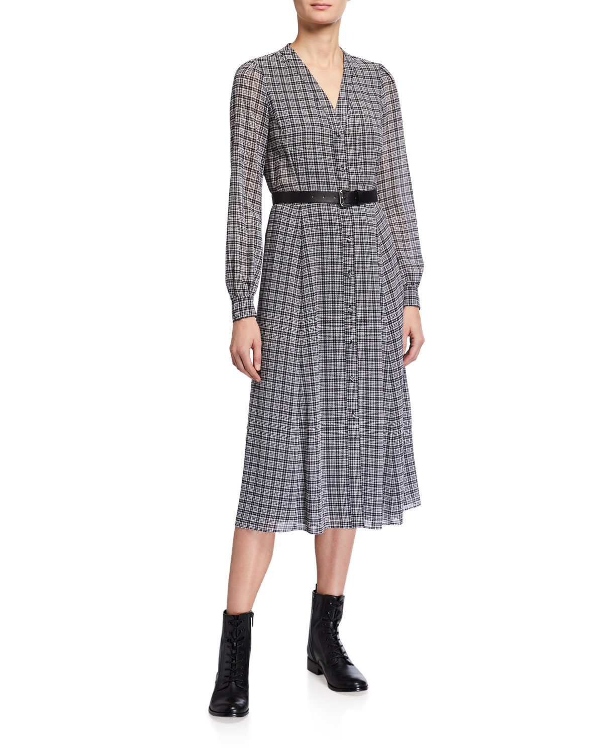 MICHAEL Michael Kors Check Midi Shirt Dress