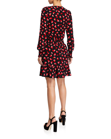 MICHAEL Michael Kors Printed Long-Sleeve Ruffle Wrap Dress