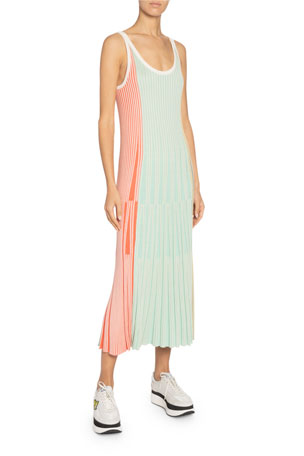 Kenzo Sleeveless Stripe Knit Midi Dress