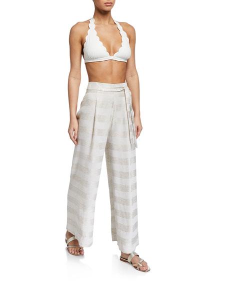 Agua de Coco Striped Tie-Waist Coverup Pants