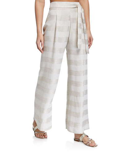Striped Tie-Waist Coverup Pants