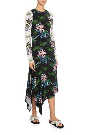 Kenzo Fluid Asymmetrical Printed Dress